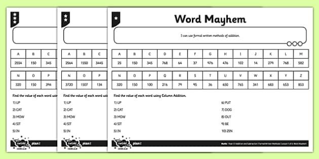 Year 5 Word Mayhem Activity Sheet - add, written method, columnar addition, four digits, column addition, addition, differentiated, worksheet