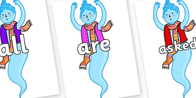 Tricky Words on Genie of the Ring - Tricky words, DfES Letters and Sounds, Letters and sounds, display, words