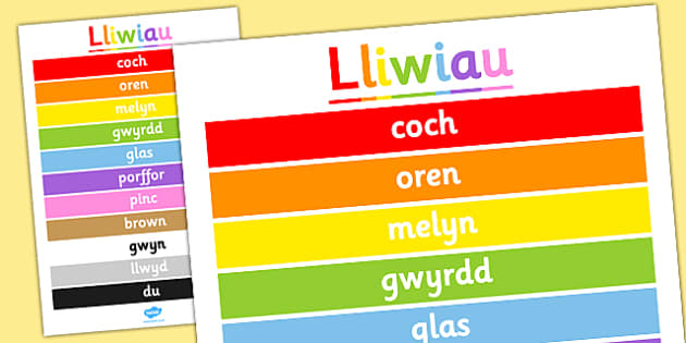 Poster 'Lliwiau' - colours, poster, display, welsh, colour