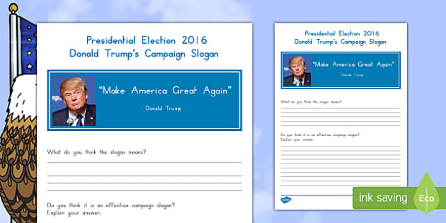 Trump's Campaign Slogan Activity Sheet