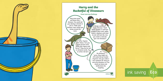 Harry and the Bucketful of dinosaurs Home Learning Challenge Sheet Nursery FS1
