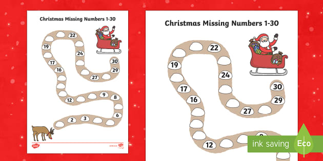 Christmas Path Missing Numbers to 30 Activity Sheet