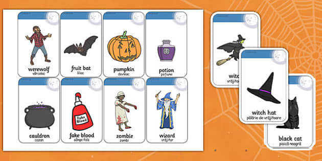 Halloween Flashcards Romanian Translation - romanian, halloween, hallowe'en, flashcards, flash, cards