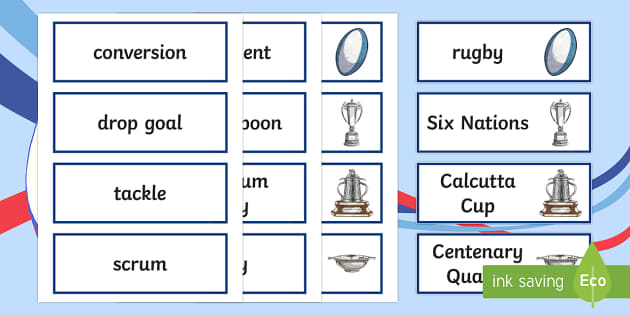Six Nations Rugby Vocabulary Cards - CfE, calendar events, Scotland, Scottish, traditions, history, celebrations, 6 nations, Six Nations,