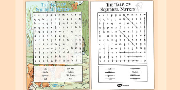 The Tale of Squirrel Nutkin Wordsearch - squirrel nutkin, wordsearch