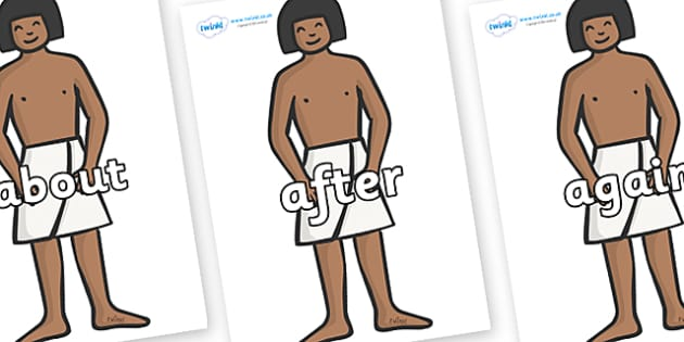 KS1 Keywords on Egyptian Workers - KS1, CLL, Communication language and literacy, Display, Key words, high frequency words, foundation stage literacy, DfES Letters and Sounds, Letters and Sounds, spelling