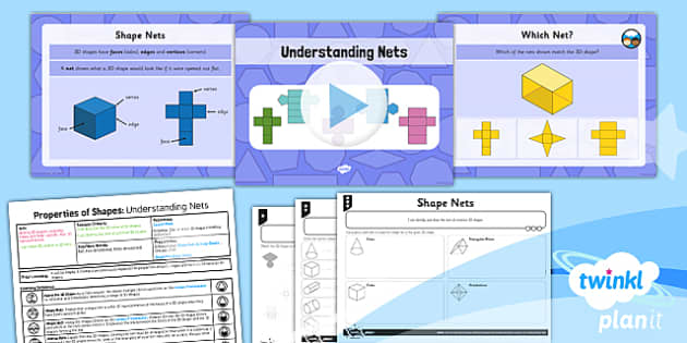 PlanIt Y5 Properties of Shapes Lesson Pack 3D Shapes from 2D representations (1) - Properties of Shapes, 3D shapes, 2D shapes, geometric shapes, shape nets
