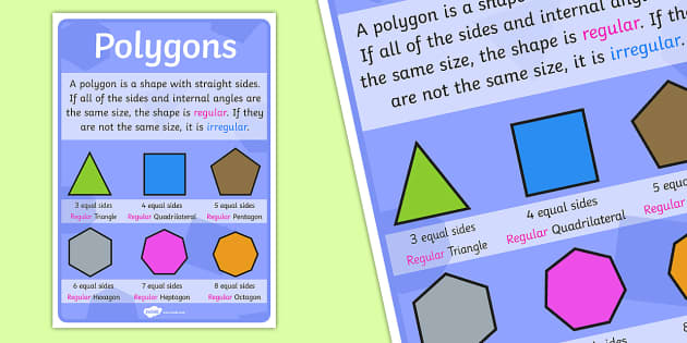 Polygons Poster (Large) - polygon poster, large polygon poster, polygons, shapes, shapes poster, polygon shapes, ks2 numeracy, ks2 shapes poster