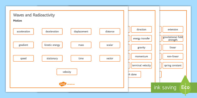 OCR Gateway Combined Science Waves and Radioactivity Word Mat - Word Mat, keywords, gcse, radioactive, radioactivity, wave, waves, electromagnetic spectrum, electro