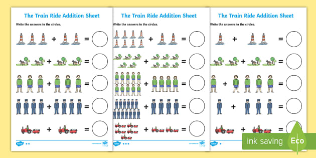 The Train Ride Addition Sheet - the train ride, addition, sheet, the train ride worksheet, addition worksheet, math worksheet, numeracy, numbers, adding