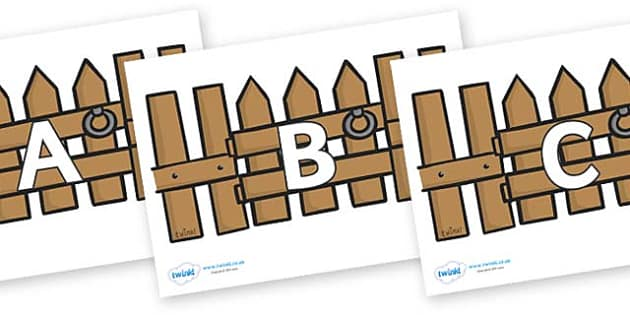A-Z Alphabet on Fences - A-Z, A4, display, Alphabet frieze, Display letters, Letter posters, A-Z letters, Alphabet flashcards