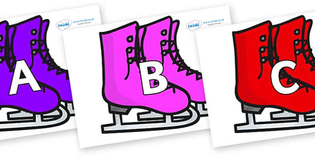 A-Z Alphabet on Ice Skates - A-Z, A4, display, Alphabet frieze, Display letters, Letter posters, A-Z letters, Alphabet flashcards