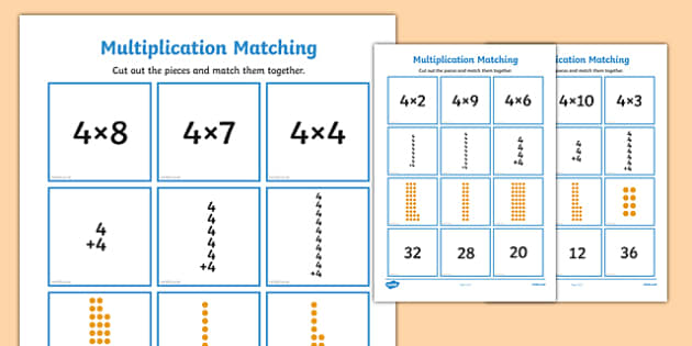 4 Times Table Multiplication Matching Puzzle - times table, multiplication, matching, puzzle, activity