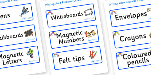 Rainbow Themed Editable Writing Area Resource Labels - Themed writing resource labels, literacy area labels, writing area resources, Label template, Resource Label, Name Labels, Editable Labels, Drawer Labels, KS1 Labels, Foundation Labels, Foundatio