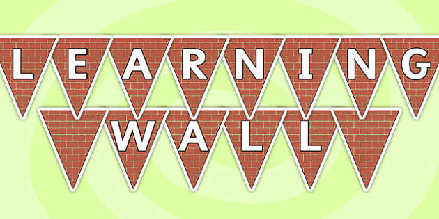 Learning Wall Display Bunting - learning wall, bunting, themed bunting, display bunting, bunting flags, flag bunting, cut out bunting, paper bunting