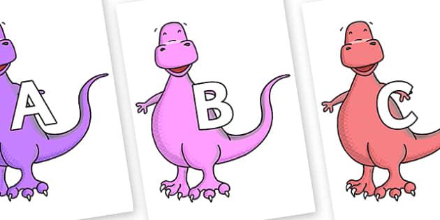 A-Z Alphabet on Tyrannosaurus - A-Z, A4, display, Alphabet frieze, Display letters, Letter posters, A-Z letters, Alphabet flashcards