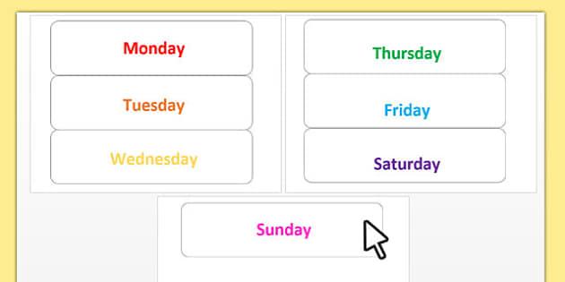 Editable Days of the Week Cards - editable, days, week, cards