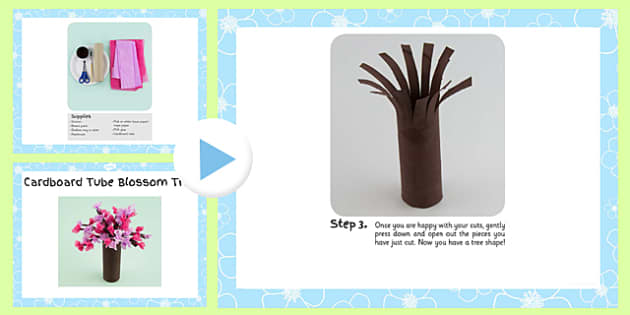 Cardboard Tube Blossom Tree Craft Instructions PowerPoint - craft, powerpoint