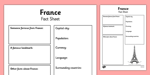 France Factsheet Writing Template france france fact sheet – Fact Sheet Template