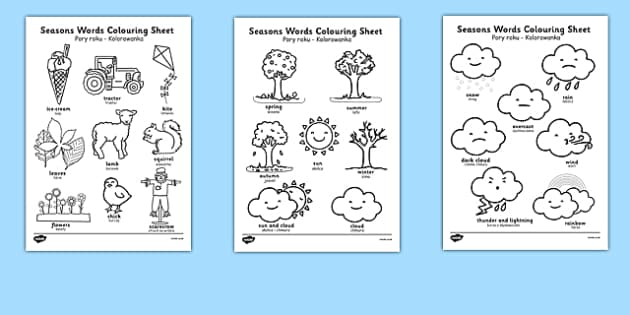 Season Words Colouring Sheets Polish Translation - bilingual, weather, summer, spring, winter, autumn, language, speech