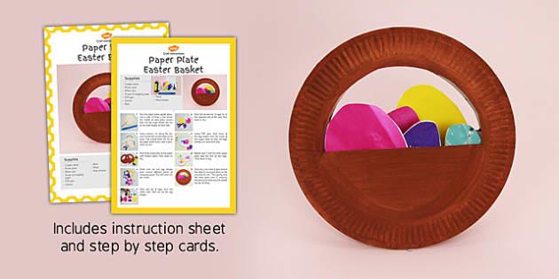 Paper Plate Easter Basket Craft Instructions - craft, easter