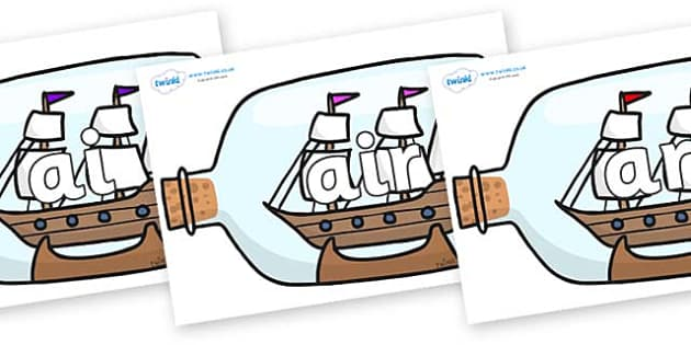 Phase 3 Phonemes on Ship in a Bottles - Phonemes, phoneme, Phase 3, Phase three, Foundation, Literacy, Letters and Sounds, DfES, display
