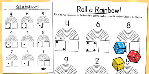 Rainbow Roll Number Bonds Activity Sheet - rainbow, roll, bonds, worksheet
