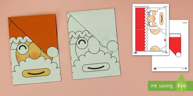 Simple 3D Christmas Card Santa Paper Craft - santa,craft activities, 3d models.