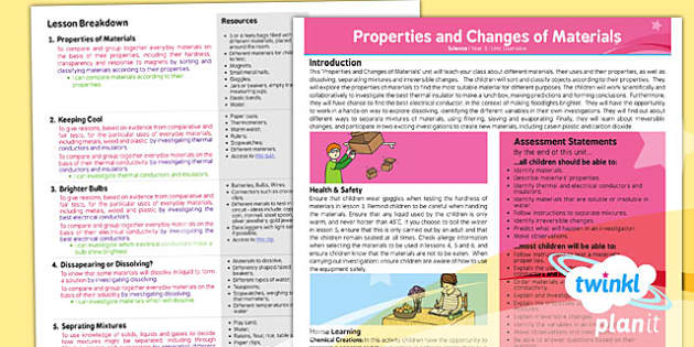PlanIt Science Year 5 Properties and Changes of Materials Planning Overview - topic, planning, information, ks2, key stage 2, uks2, science, national curriculum, resources, display