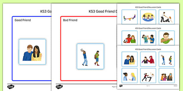 KS3 Good Friend Discussion and Sorting Cards - ks3, good friend, discussion, sorting, cards