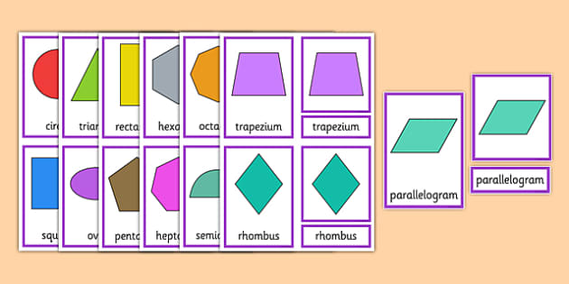 2D Shape Three Part Cards