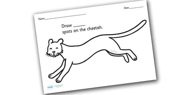 Cheetah Spots Counting and Colouring Sheet - safari, safari animals, on safari, safari colouring sheets, safari counting sheets, safari numeracy, counting