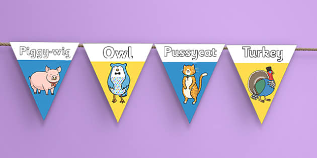 The Owl and the Pussycat Display Bunting - owl and the pussycat, aesops fables, display bunting, display, bunting