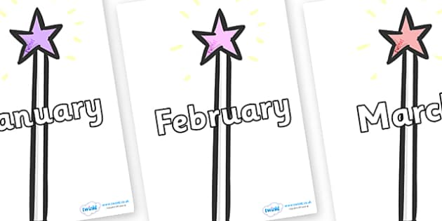 Months of the Year on Wands - Months of the Year, Months poster, Months display, display, poster, frieze, Months, month, January, February, March, April, May, June, July, August, September