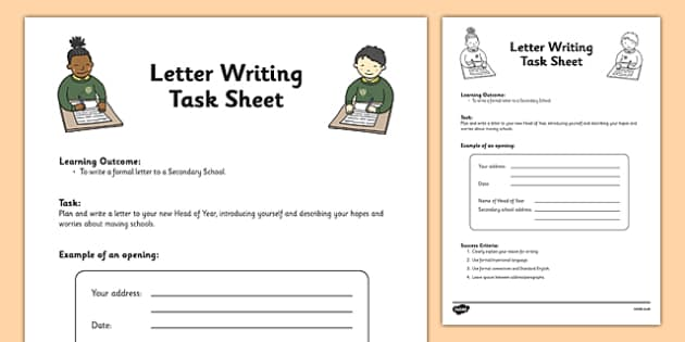 Transition Letter Writing Differentiated Task Activity - year 6