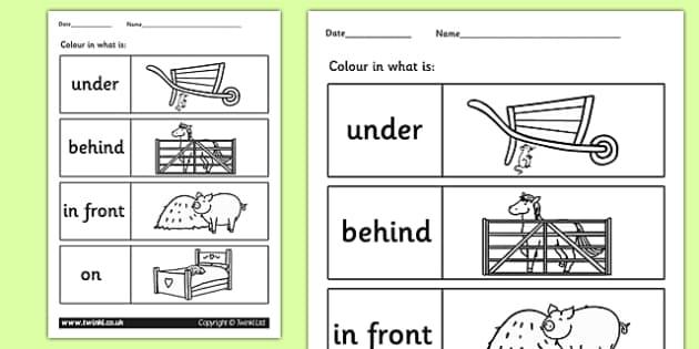 Farm Colour the Prepositions Worksheet - position, farm, animals, prepositions