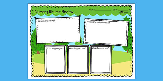 Nursery Rhyme Review Writing Frames - nursery rhyme, review, writing frames, rhyme