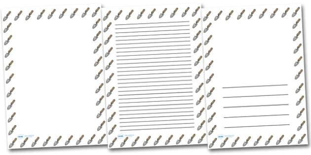 Trowel Portrait Page Borders- Portrait Page Borders - Page border, border, writing template, writing aid, writing frame, a4 border, template, templates, landscape
