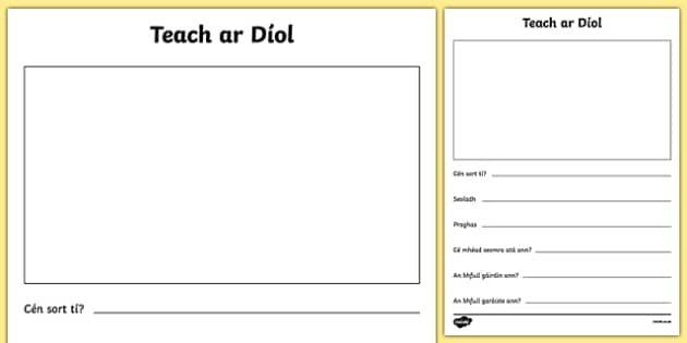 Teach ar Díol Activity Sheet - Irish, worksheet