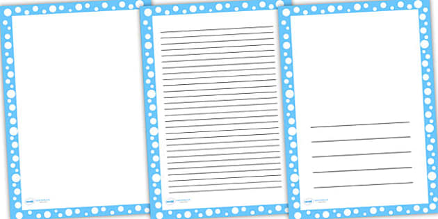 Blue with White Spots Page Borders - writing templates, writing
