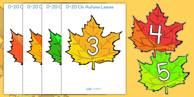 0 20 On Fall Leaves - fall, seasons, weather, math, math display