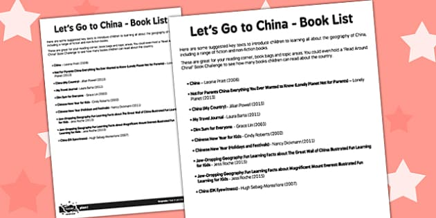 Let's Go to China Book List - lets go, china, book list, book list