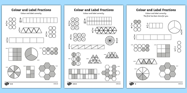 Colour and Label Fractions Worksheet fractions fractions – Coloring Fractions Worksheet