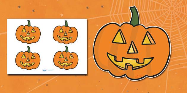 Editable Halloween Jack 'o' Lantern Pumpkin (Small) - Editable Halloween Kack o Lantern Pumpkin, small, display, poster, Halloween, pumpkin, witch, bat, scary, black cat, mummy, grave stone, cauldron, broomstick, haunted house, potion, Hallowe'en