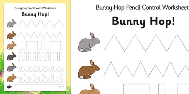 Hop Pencil Control Worksheets - easter, fine motor skills