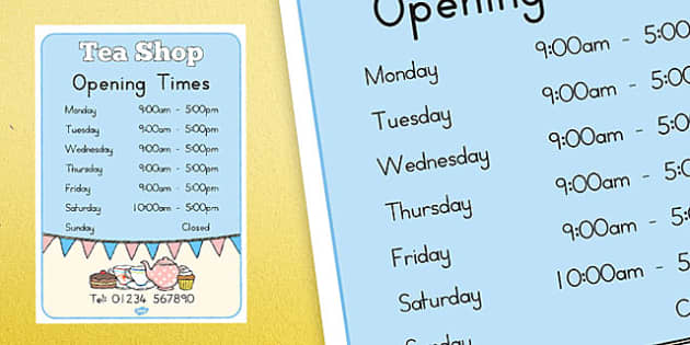 Tea Shop Role Play Opening Times - australia, tea shop, role-play, opening times