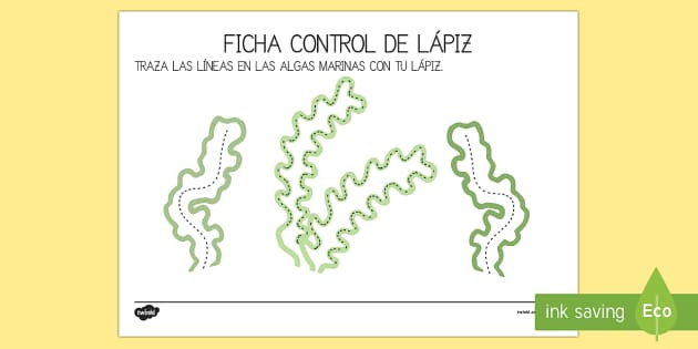 Las algas del pez arcoiris Fichas de motricidad fina.. trazo
