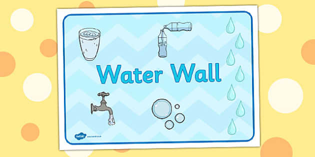 Water Wall A4 Sign - water wall, a4, sign, display, water, wall
