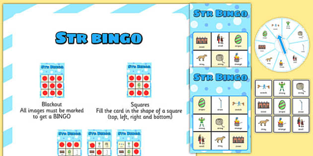 STR Spinner Bingo -speech sounds, phonology, articulation, speech therapy, cluster reduction, complex clusters, three element clusters
