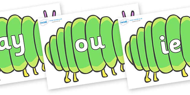 Phase 5 Phonemes on Fat Caterpillars to Support Teaching on The Very Hungry Caterpillar - Phonemes, phoneme, Phase 5, Phase five, Foundation, Literacy, Letters and Sounds, DfES, display